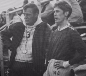 Coach Cavanaugh and Bob Thomas during 1970 track season (1970 PHS Legend)