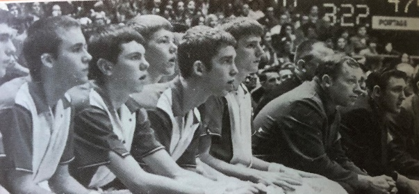 Portage bench watching regional action (1971 PHS Legend)