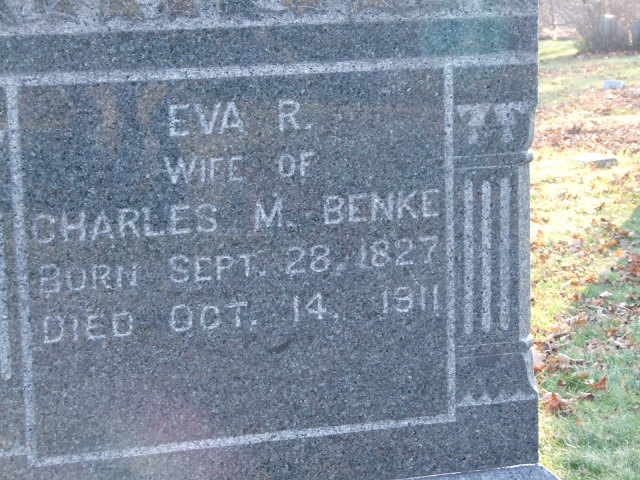 BENKE Eva R. mother of Charles M.  dob 28 Sep 1827  dod 14 oct 1911 Plot S11 copy S11 .JPG